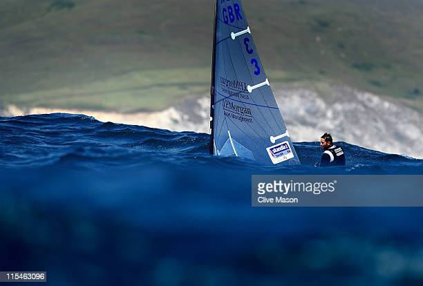 Ben Ainslie of Great Britain in action during a Finn class race on day two of the Skandia Sail For Gold Regatta at the Wemouth and Portland National...