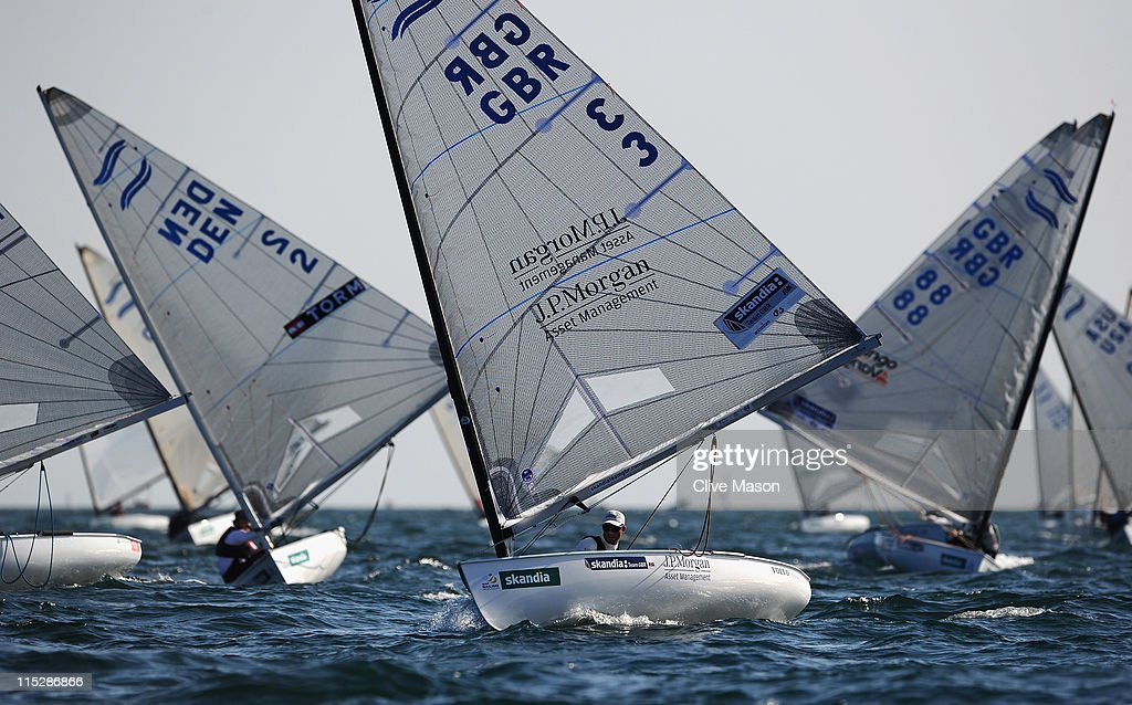 Ben Ainslie of Great Britain in action during the Finn Class race on day one of the Skandia Sail For Gold Regatta at the Weymouth and Portland National Sailing Academy on June 6, 2011 in Weymouth, England.