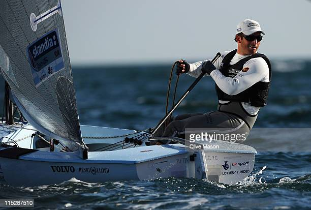 Ben Ainslie of Great Britain in action during the Finn Class race on day one of the Skandia Sail For Gold Regatta at the Weymouth and Portland...