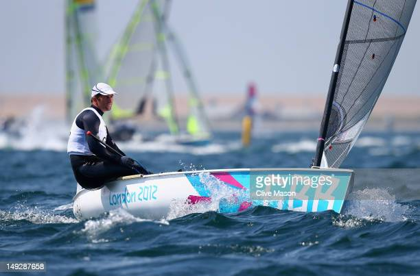Ben Ainslie of Great Britain in action during training at the Weymouth & Portland Venue, ahead of the London 2012 Olympic Games on July 26, 2012 in...