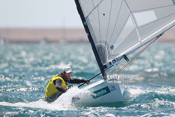 Ben Ainslie of Great Britain in action on his way to winning Gold in the Finn Class medal race during the Skandia Sail For Gold Regatta at the...