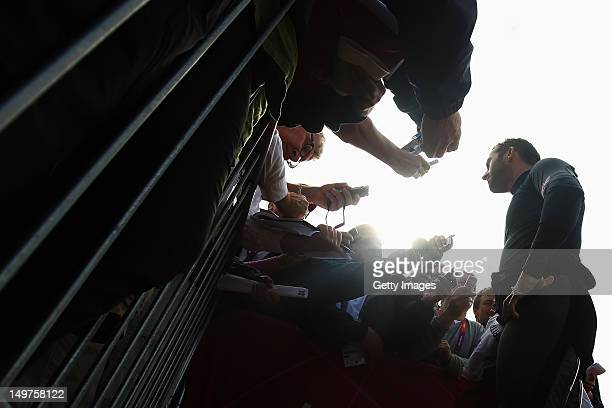 Ben Ainslie of Great Britain is interviewed by the media after competing in the Men's Finn Sailing on Day 7 of the London 2012 Olympic Games at the...
