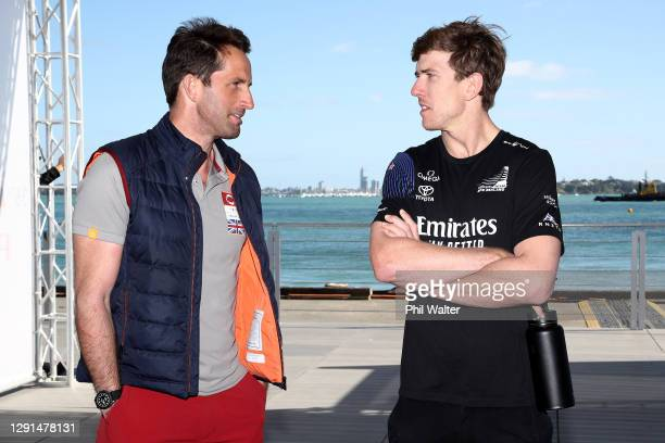 Ben Ainslie of INEOS Team UK and Peter Burling of Emirates Team New Zealand during a press conference ahead of the PRADA America's Cup World Series...
