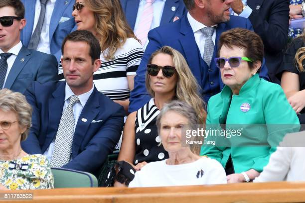Ben Ainslie presenter Georgie Thompson and former professional tennis player Billie Jean King attend day seven of the Wimbledon Tennis Championships...