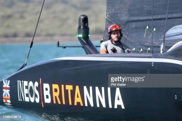 Ben Ainslie, skipper of INEOS Team UK looks on after defeating Luna Rossa Prada Pirelli Team in round one, race 2 during the 2021 PRADA Cup Round...