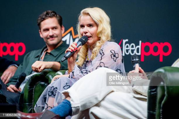 Ben Aldridge and Paloma Faith attend a panel about the DC Comics TV series Pennyworth during day 1 of the October MCM London Comic Con 2019 at ExCel...
