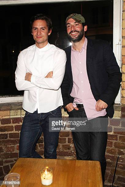 Ben Aldridge and Tom Ellis attend the press night after party following the performance of The Lyons at the Menier Chocolate Factory on September 26...