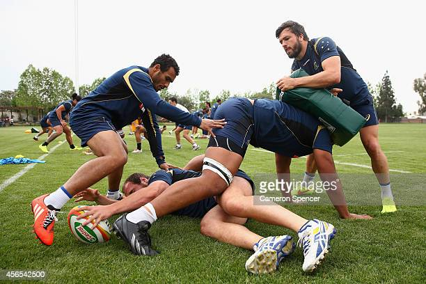 Ben Alexander Will Genia Will Skelton and Adam AshleyCooper of the Wallabies participate in a drill during an Australian Wallabies training session...