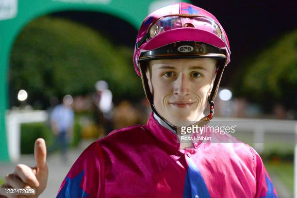 Ben Allen after winning the R&C Asphalt & Paving Two-Years-Old Fillies Maiden Plate at Cranbourne Racecourse on April 23, 2021 in Cranbourne,...