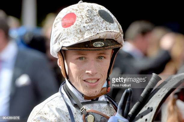 Ben Allen after winning the Tauto Handicap at Flemington Racecourse on January 13 2018 in Flemington Australia