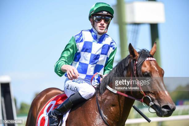 Ben Allen returns to the mounting yard aboard Fifty Stars after winning the Araza Sandown Stakes at Ladbrokes Park Hillside Racecourse on November...