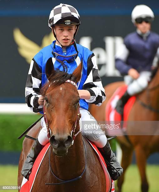Ben Allen riding Big Duke after winning Race 2 during Melbourne Racing at Caulfield Racecourse on December 26 2016 in Melbourne Australia
