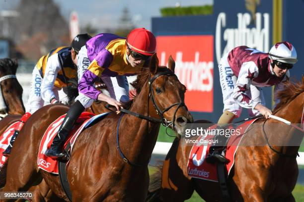 Ben Allen riding Guizot winning Race 3 during Melbourne Racing at Caulfield Racecourse on July 14 2018 in Melbourne Australia