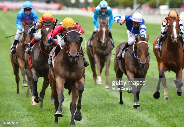 Ben Allen riding Ken's Dream wins Race 8 at Flemington Racecourse on January 13 2018 in Melbourne Australia