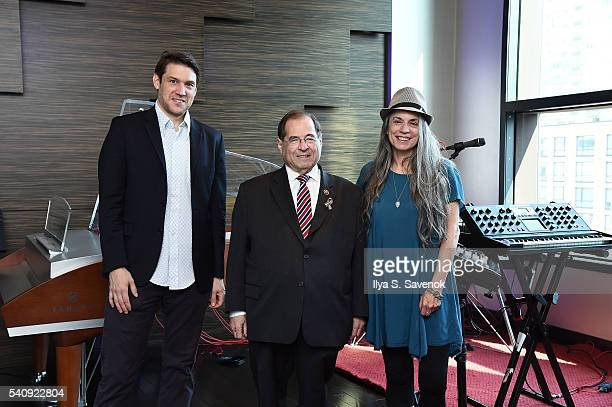 Ben Allison Congressman Jerrold Nadler and Judy Tint pose at Jungle City Studios on June 17 2016 in New York City
