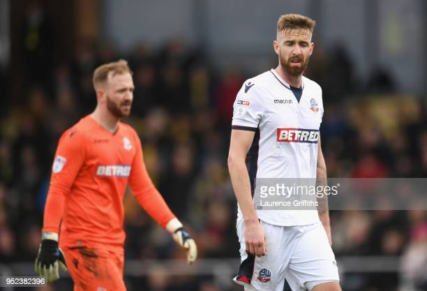 Ben Alnwick and Mark Beevers of Bolton Wanderers look dejected during the Sky Bet Championship match between Burton Albion and Bolton Wanderers at...