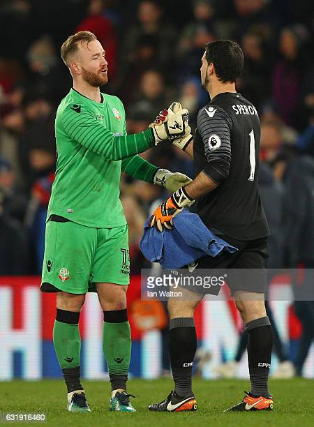 Ben Alnwick of Bolton and Julian Speroni of Crystal Palace shake hands after the Emirates FA Cup third round replay between Crystal Palace and Bolton...