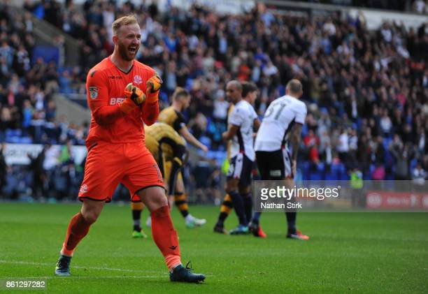 Ben Alnwick of Bolton celebrates during the Sky Bet Championship match between Bolton Wanderers and Sheffield Wednesday at Macron Stadium on October...