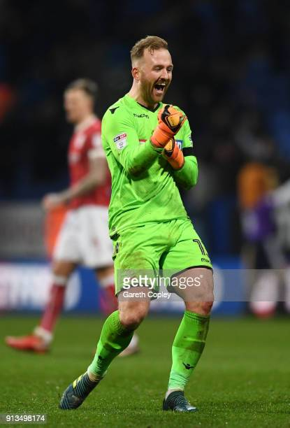 Ben Alnwick of Bolton Wanderers celebrates his teams victory on the fianl whistle during the Sky Bet Championship match between Bolton Wanderers and...