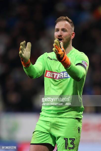 Ben Alnwick of Bolton Wanderers gestures during the Sky Bet Championship match between Bolton Wanderers and Bristol City at Macron Stadium on...