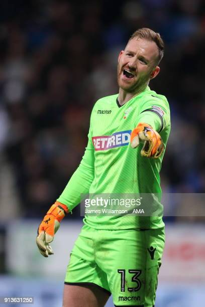 Ben Alnwick of Bolton Wanderers points during the Sky Bet Championship match between Bolton Wanderers and Bristol City at Macron Stadium on February...