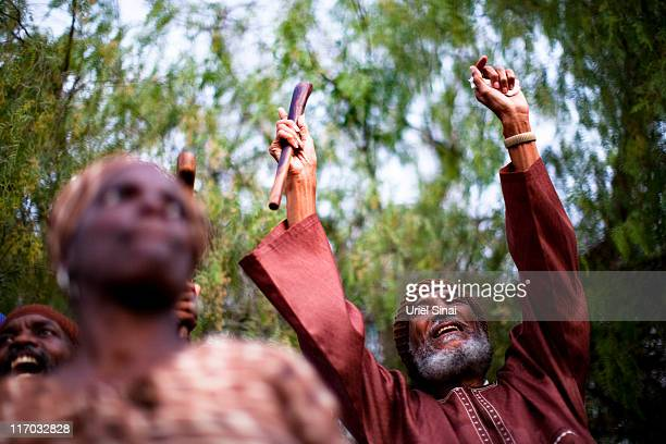 Ben Ammi BenIsrael the leader of the Black Hebrews community celebrates the Shavuot harvest festival on June 2011 in Dimona Israel The community who...