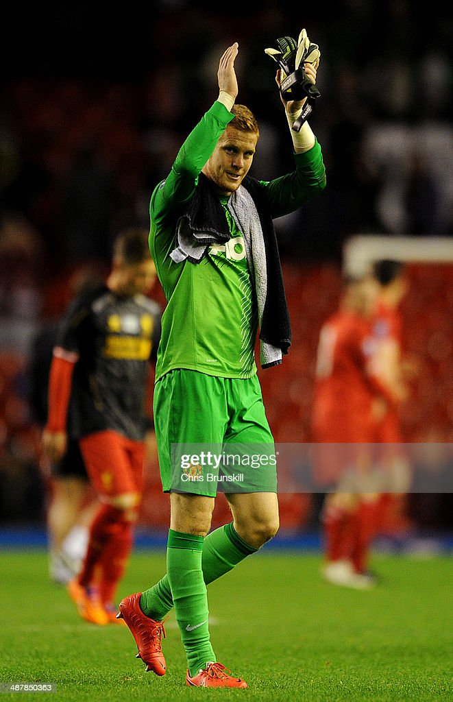 Ben Amos of Manchester United applauds the supporters following the Barclays U21 Premier League Semi Final match between Liverpool and Manchester United at Anfield on May 02, 2014 in Liverpool, England.