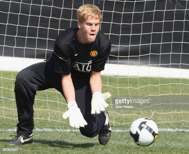 Ben Amos of Manchester United in action during a first team training session during their preseason tour to South Africa at Loftus Stadium on July 25...