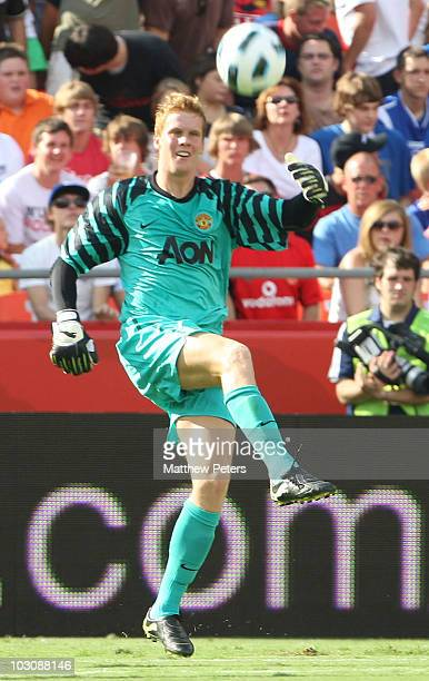 Ben Amos of Manchester United in action during the preseason friendly match between Kansas City Wizards and Manchester United at Arrowhead Stadium on...
