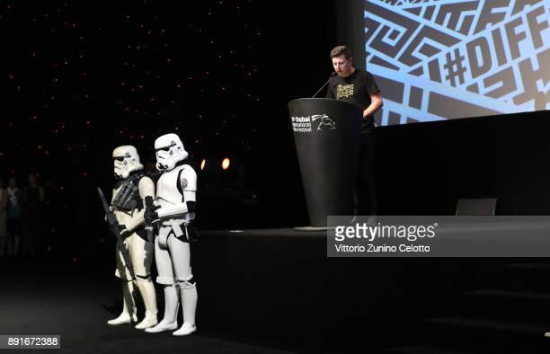 Ben Amy speaks at the Star Wars The Last Jedi Closing Night Gala on day eight of the 14th annual Dubai International Film Festival held at the...
