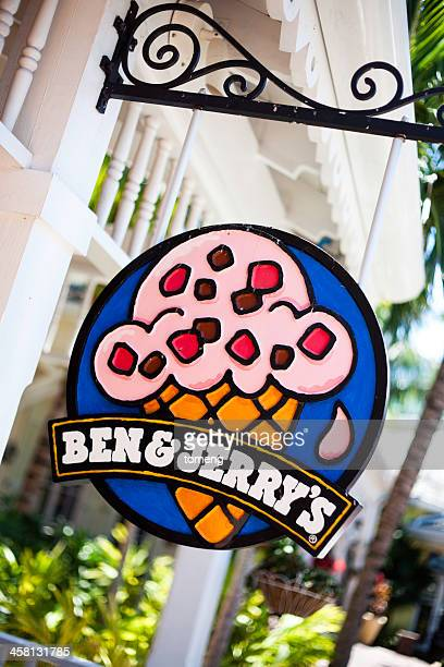 ben and jerrys ice cream sign - ben jerrys stock pictures, royalty-free photos & images