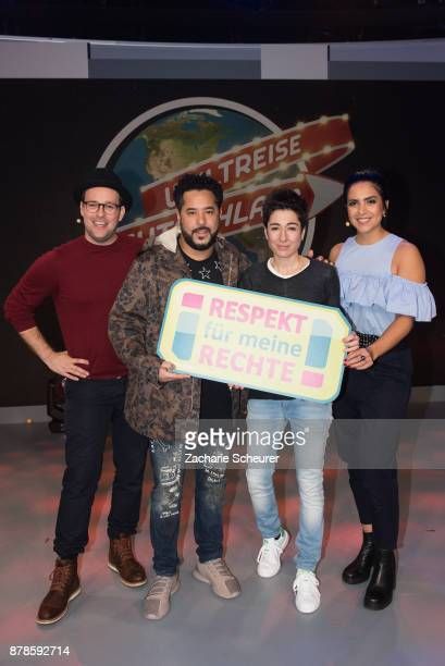 Ben and Jess from KIKA Live Adel Tawil and Dunja Hayali at the 'Weltreise Deutschland Die Show' Photo Call at Fernsehwerft Berlin on November 24 2017...