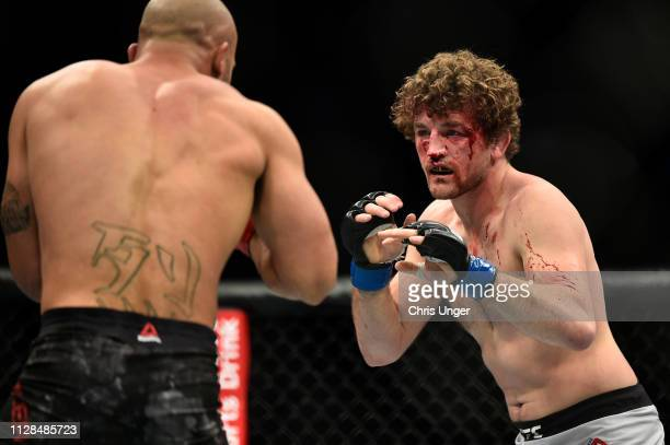Ben Askren battles Robbie Lawler in their welterweight bout during the UFC 235 event at TMobile Arena on March 2 2019 in Las Vegas Nevada