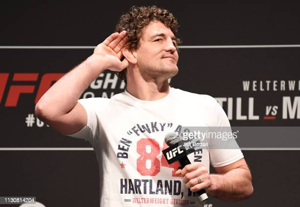 Ben Askren interacts with fans during a QA session before the UFC Fight Night weighin at The O2 on March 15 2019 in London England