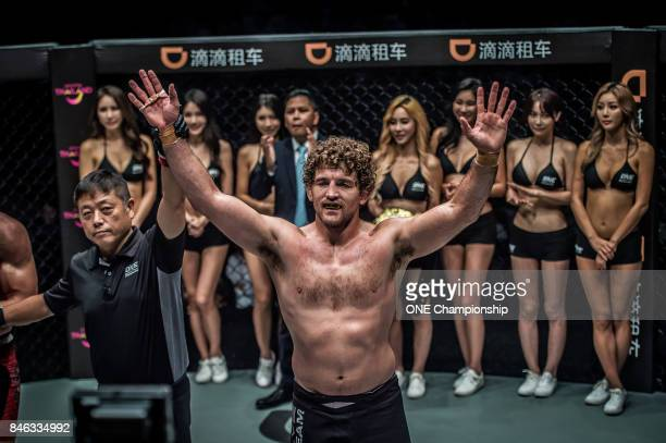 Ben Askren is declared the winner against Zebaztian Kadestam during ONE Championship Shanghai at the Shanghai Oriental Sports Center on September 02...