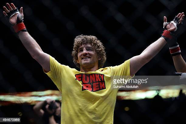 Ben Askren of United States of America celebrates after defeating Bakhtiyar Abbasov of Azerbaijan during OneFC Honor Glory at Singapore Indoor...