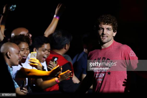 Ben Askren of United States of America enters cageside to fight Shinya Aoki of Japan in the Welterweight World Championship bout during ONE...