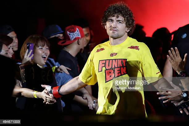 Ben Askren of United States of America enters the ring during his fight against Bakhtiyar Abbasov of Azerbaijan during OneFC Honor Glory at Singapore...