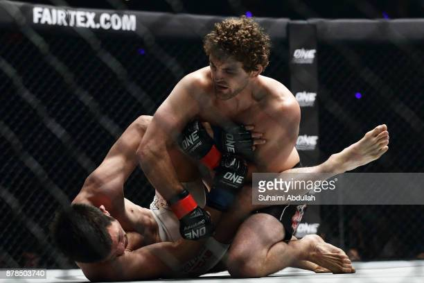 Ben Askren of United States of America fights Shinya Aoki of Japan in the Welterweight World Championship bout during ONE Championship: Immortal...