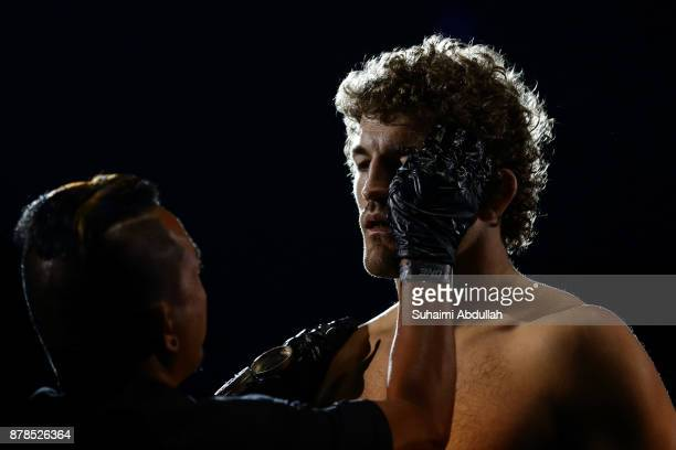 Ben Askren of United States of America prepares for his fight with Shinya Aoki of Japan in the Welterweight World Championship bout during ONE...