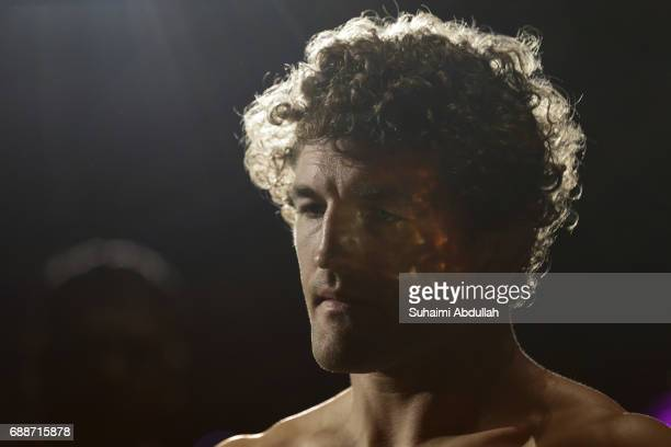 Ben Askren of United States prepares to enter the cage for his fight against Agilan Thani of Malaysia in the welterweight world championship bout...