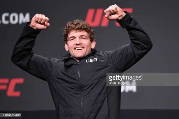 Ben Askren poses for photos during the UFC Seasonal Press Conference inside State Farm Arena on April 12 2019 in Atlanta Georgia