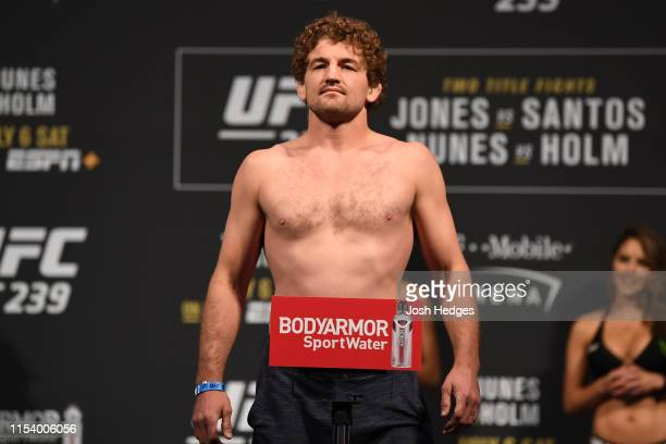Ben Askren poses on the scale during the UFC 235 weighin at TMobile Arena on July 5 2019 in Las Vegas Nevada