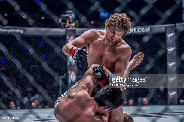 Ben Askren scored a dominant TKO victory of Shinya Aoki at ONE Championship Immortal Pursuit at the Singapore Indoor Stadium on November 24 2017 in...