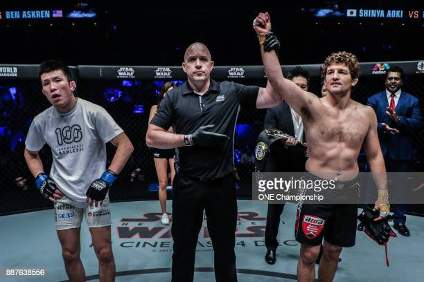 Ben Askren stands victorious after scoring a TKO win over Shinya Aoki during ONE Championship Immortal Pursuit at the Singapore Indoor Stadium on...