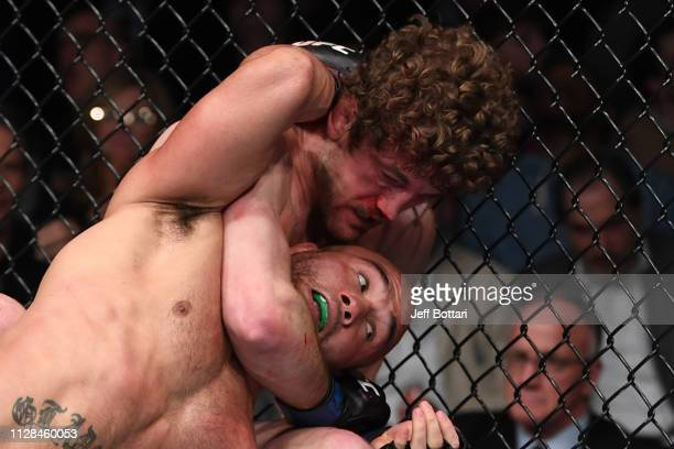 Ben Askren wrestles Robbie Lawler in their welterweight bout during the UFC 235 event at TMobile Arena on March 2 2019 in Las Vegas Nevada