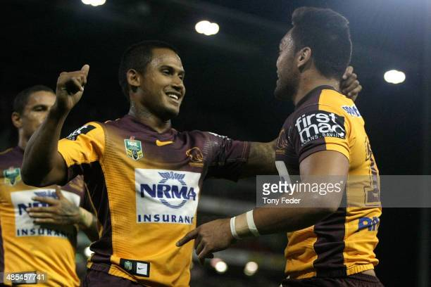 Ben Barba and Alex Glenn of the Broncos celebrate a try during the round seven NRL match between the Newcastle Knights and the Brisbane Broncos at...