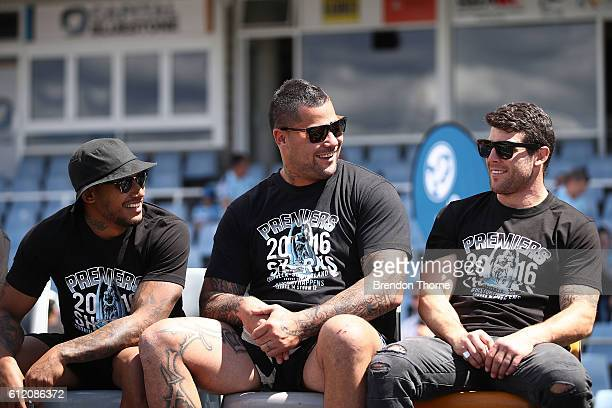 Ben Barba Andrew Fifita and Michael Ennis of the Sharks celebrate during the Cronulla Sharks NRL Grand Final celebrations at Southern Cross Group...