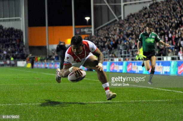 Ben Barba of St Helens scores the first try during the Betfred Super League match between St Helens and Castleford Tigers at Langtree Park on...
