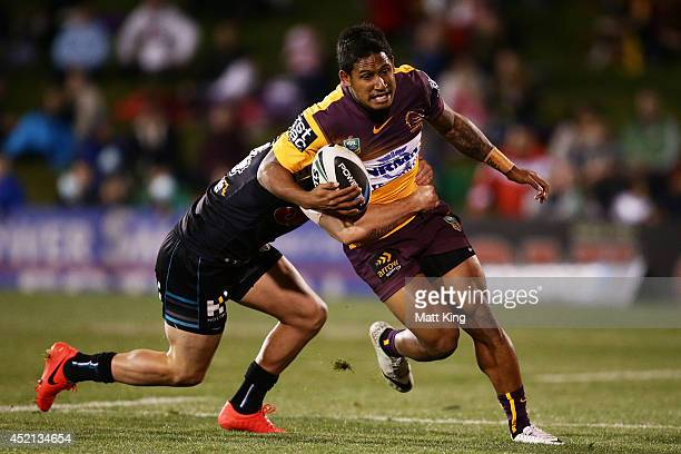 Ben Barba of the Broncos is tackled during the round 18 NRL match between the Penrith Panthers and the Brisbane Broncos at Sportingbet Stadium on...
